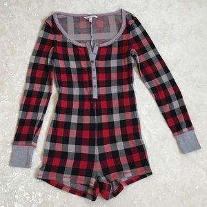 Victoria's Secret Romper Red Plaid Thermal Pajama